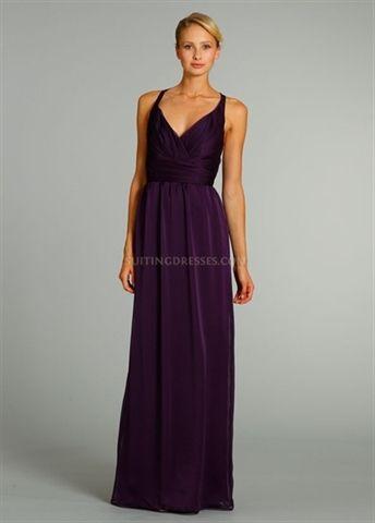 Picture of Purple Chiffon Bridesmaid Dress, V Neck Bridesmaid Dresses