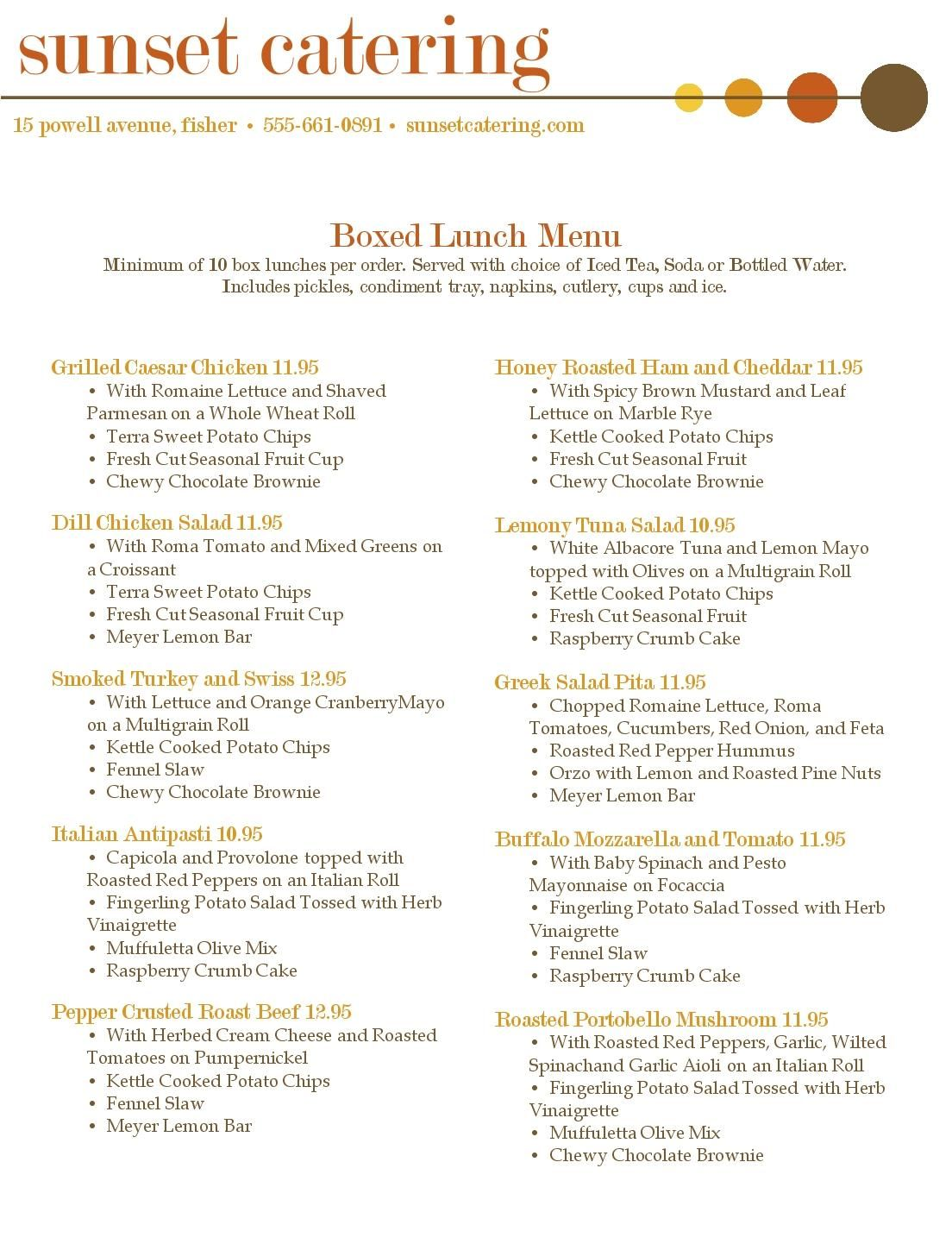 Box Lunch Menu Template  Menu For Box Lunch Catering   Pinteres