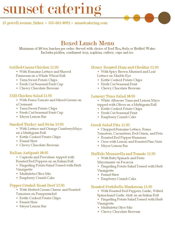 box lunch menu template