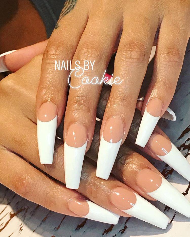 Hand Drawn French Smiles Biiiiiiiiish Nails Nailsbycookie Nailart Nailstagram French Tip Acrylic Nails Long Acrylic Nails Nails