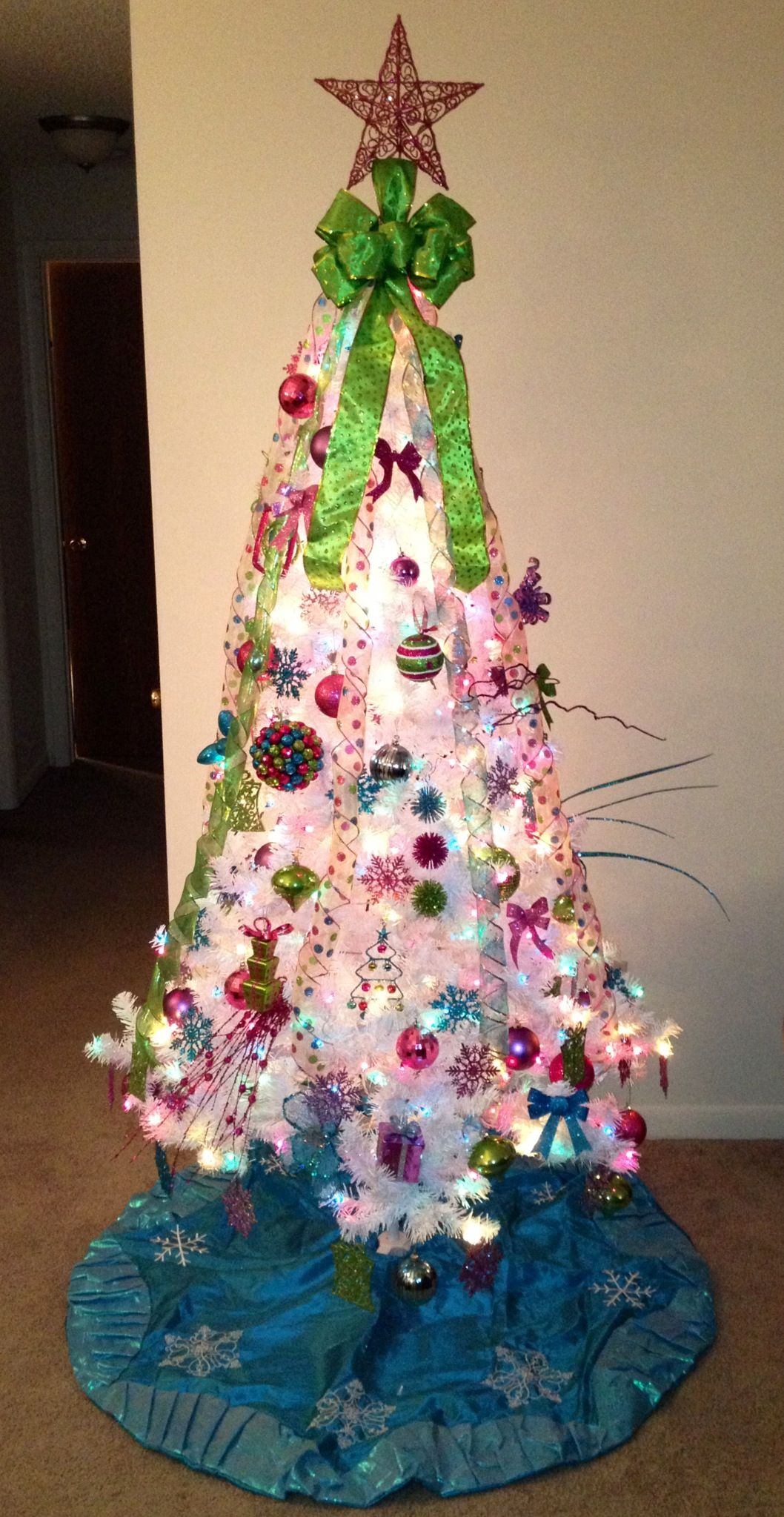 m christmas tree decor lime green hot pink purple and aqua love it - Purple And Lime Green Christmas Decorations