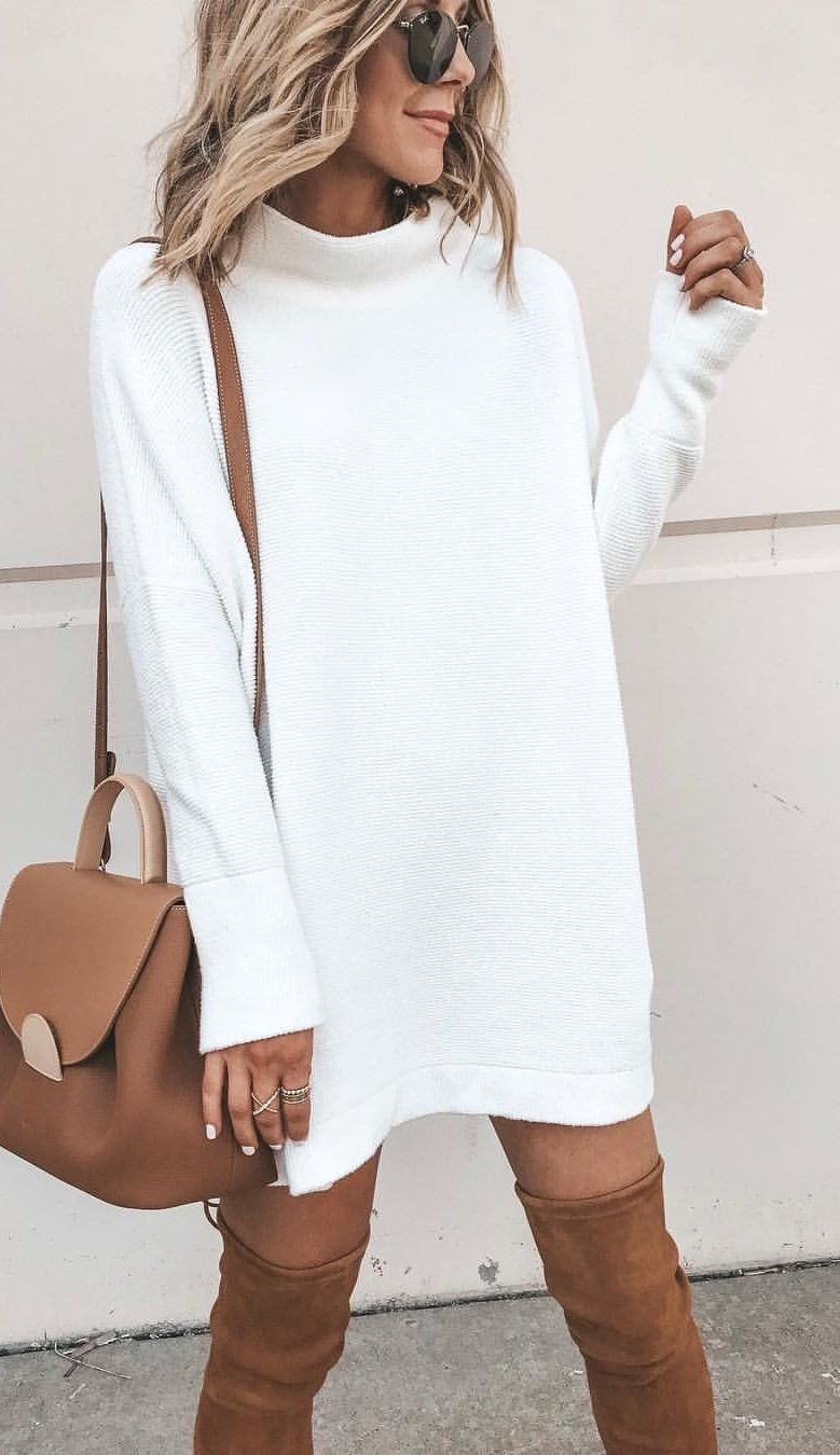 white sweater | street style outfits winter, fashion