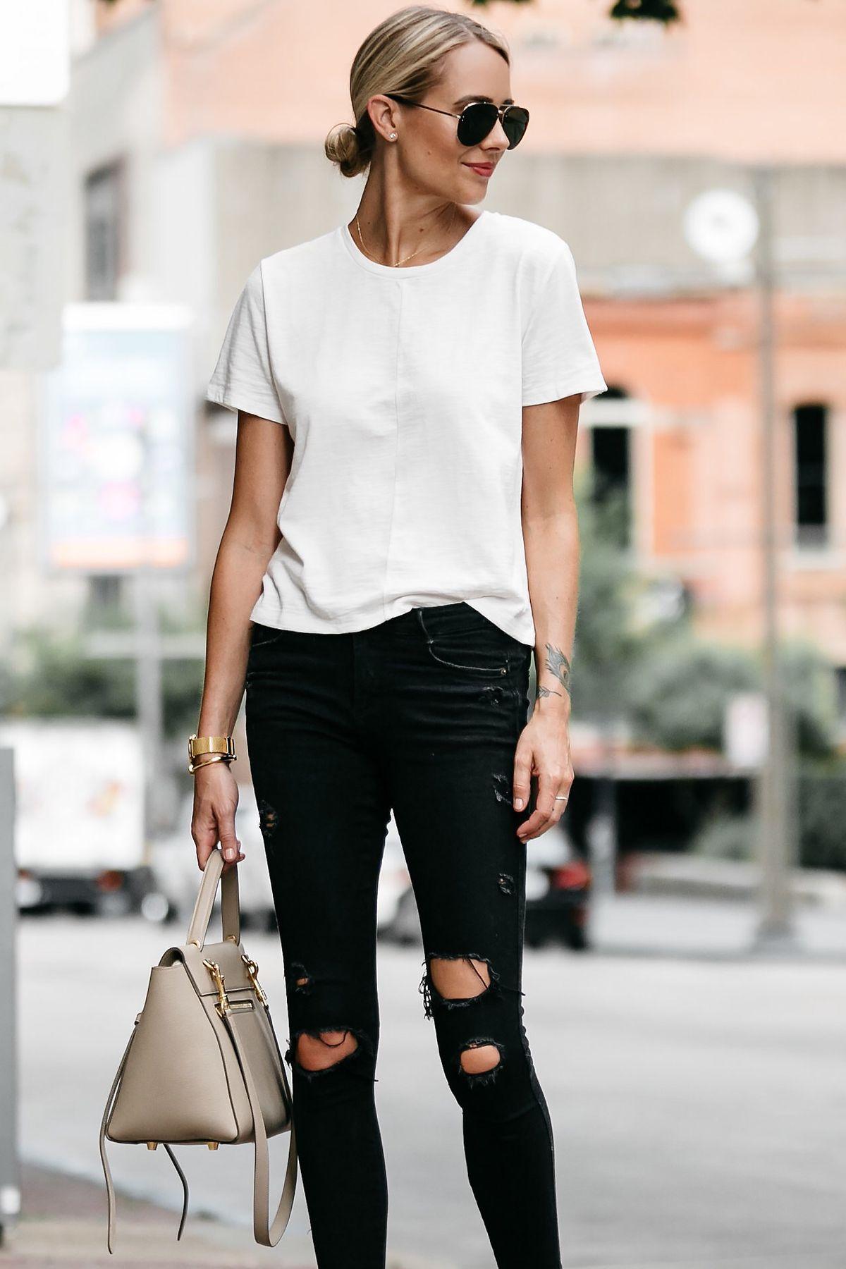 70ef452c3d8 Blonde woman wearing everlane white tshirt zara black ripped skinny jeans  outfit celine belt back street style dallas blogger fashion blogger