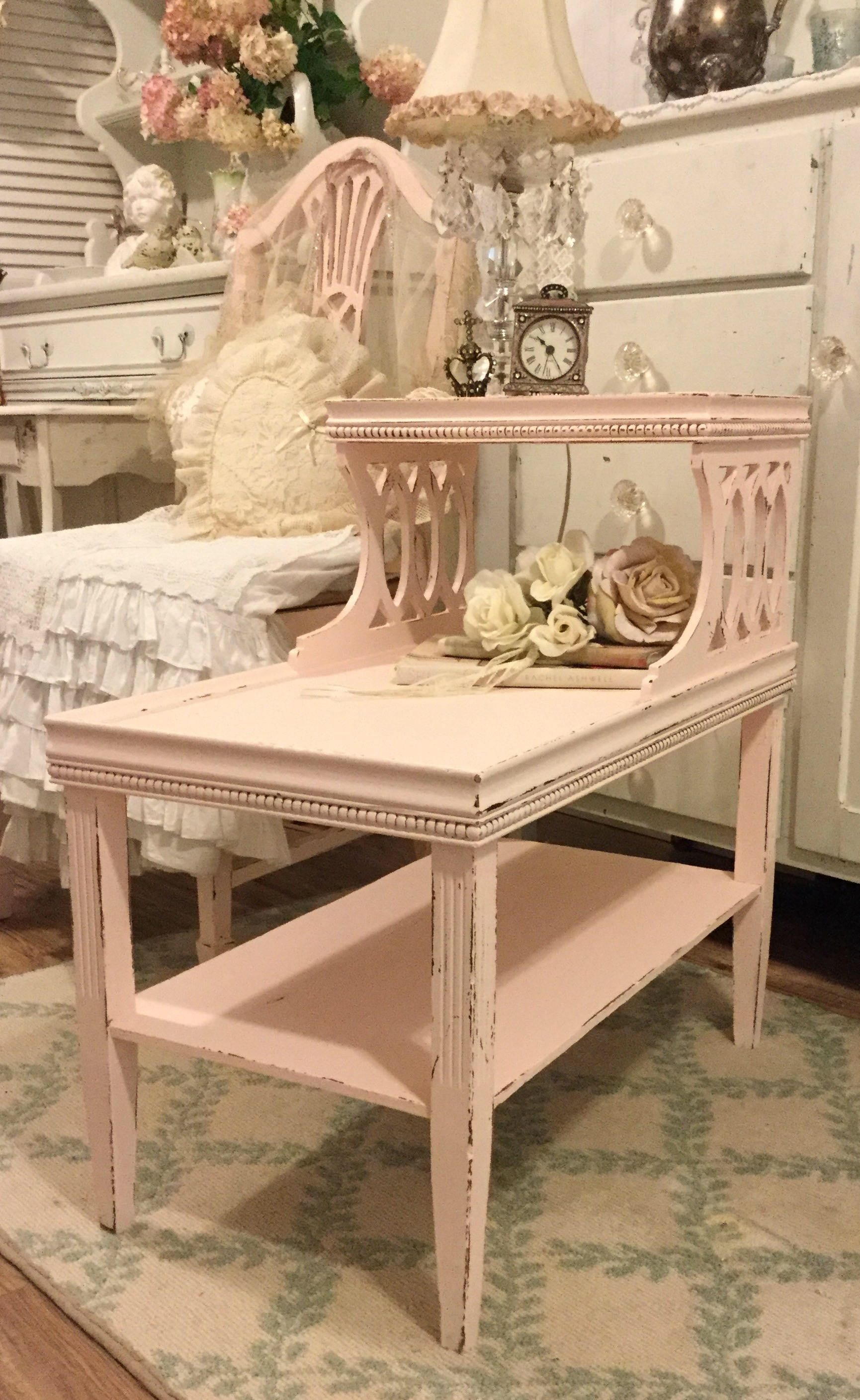 Pink Bedside Table: Shabby Pink Nightstand, Bedside Table, End Table, Stand