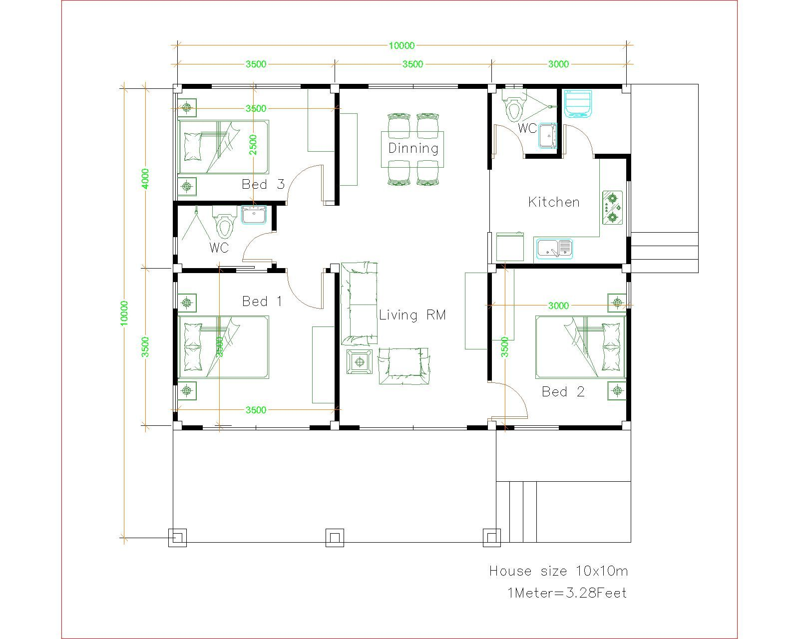 House Design 10x10 With 3 Bedrooms Full Interior House Plans 3d Unique House Plans Small House Design Plans House Layout Plans