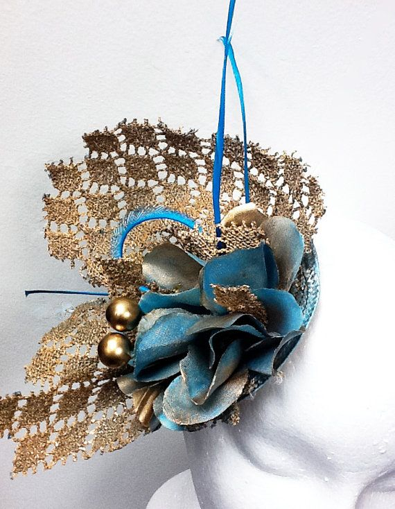 Fascinator peacock blue fascinator hat  gold by FascinatorsFirst, $43.00