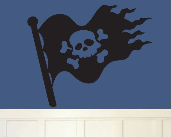 Wall decal skeleton flag pirate ship by modernwalldecal on etsy 28 00