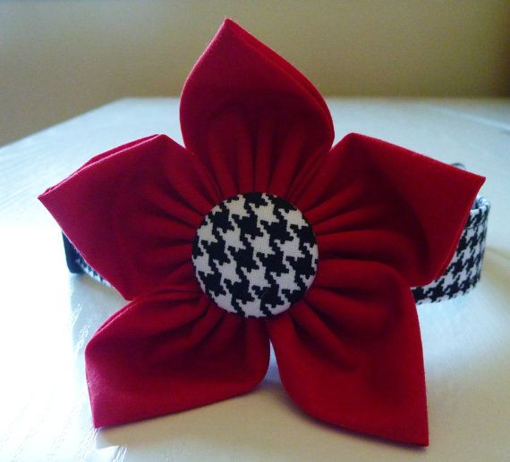 Houndstooth Black and White Dog Collar & Flower by katiesk9kollars, $21.00