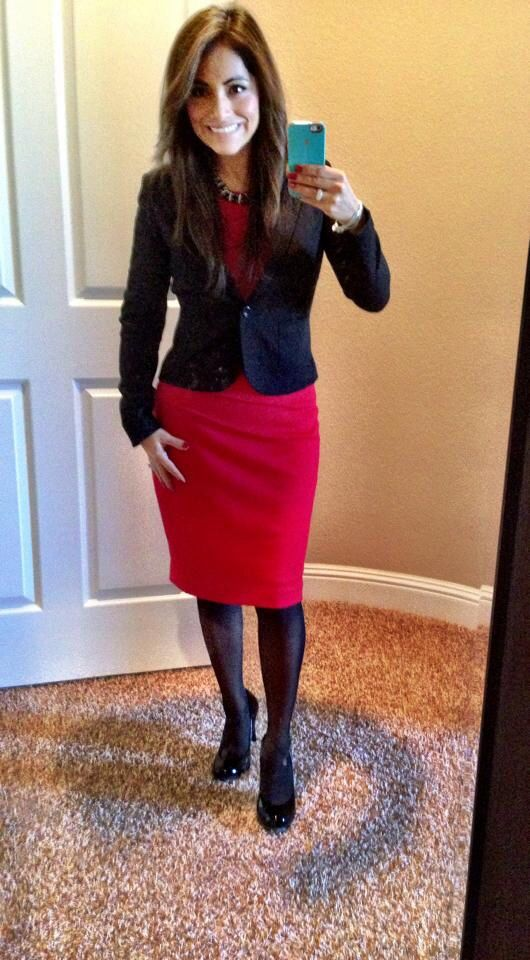 5e2af362bcc6c Classic red dress with black blazer and black tights. Modest winter fashion