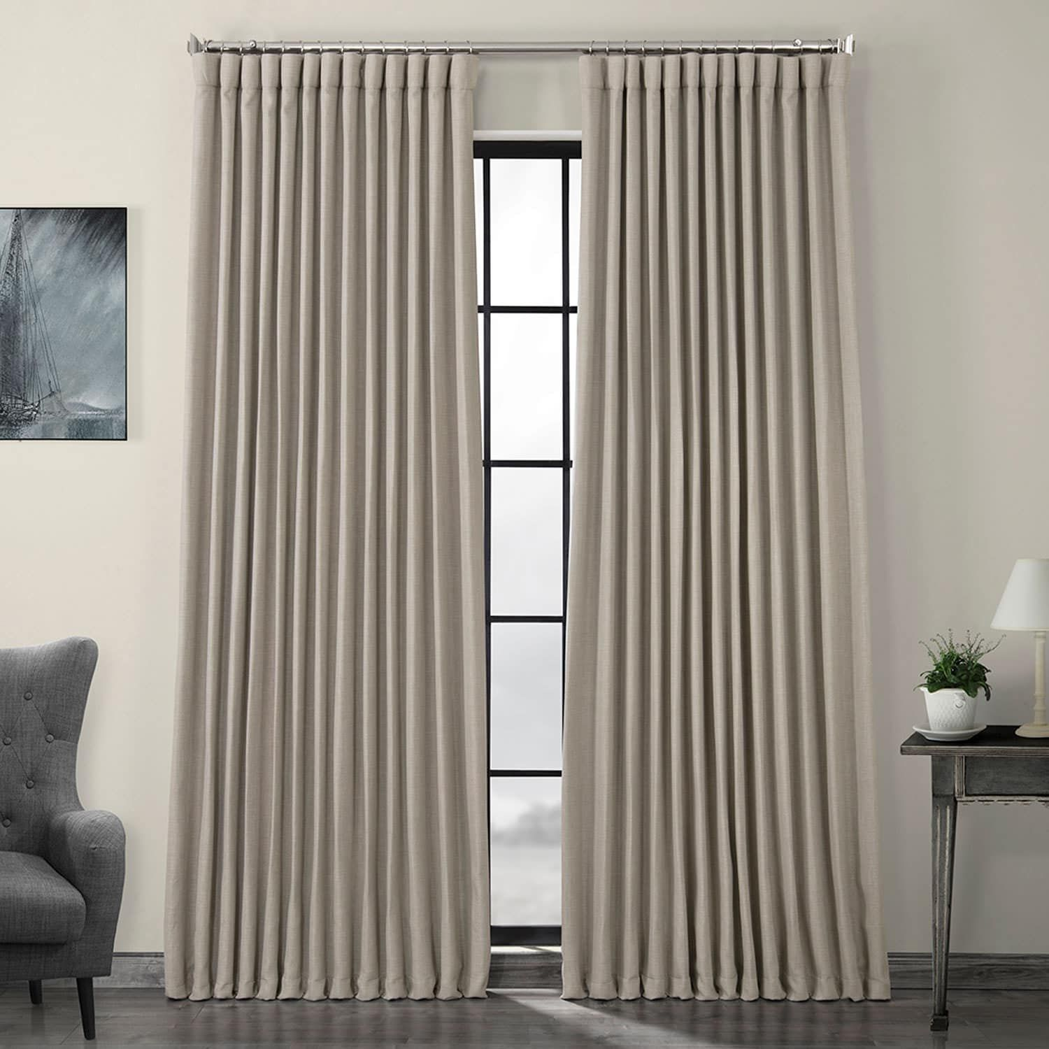 Oatmeal Faux Linen Extra Wide Blackout Room Darkening Curtain Drapes Half Price Drapes Curtains Curtains 1 Panel