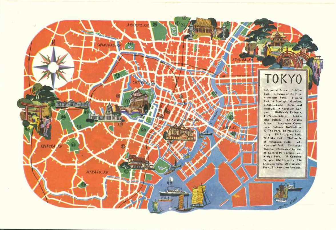Tokyo Japan Map Art Vintage Map Print Jacques Liozu Art