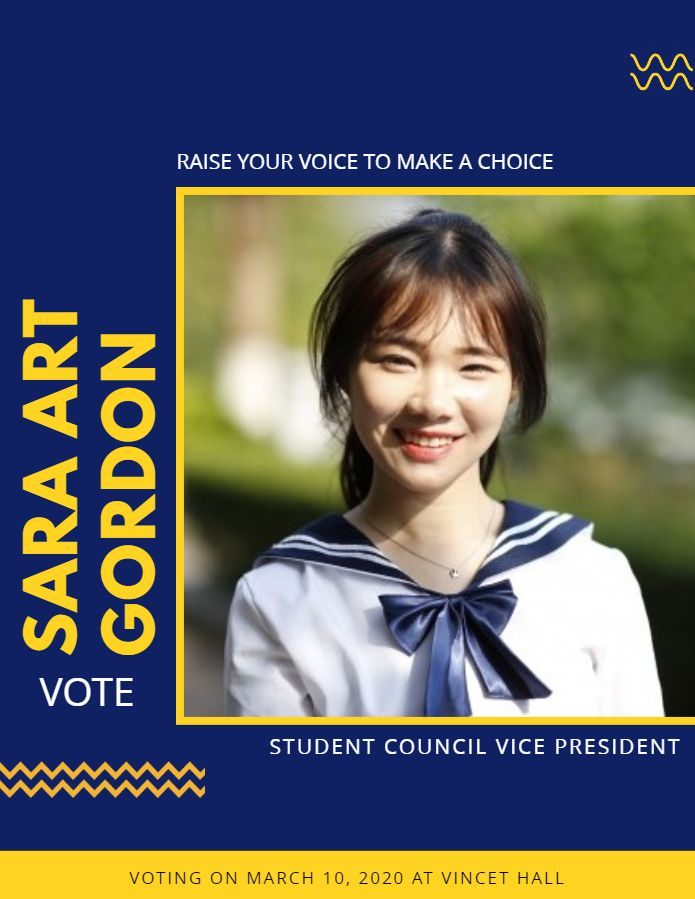 school student council election poster template design blue