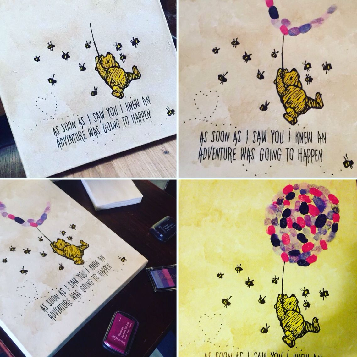 Winnie the Pooh traditional cartoon on a canvas for baby shower ...