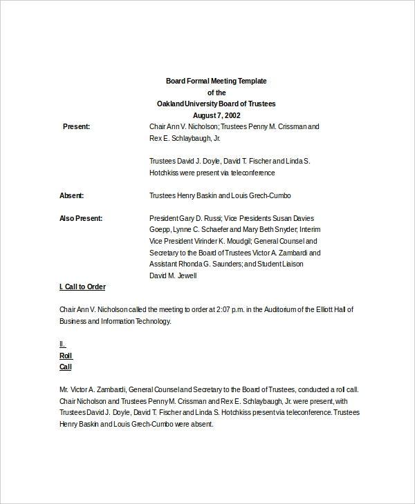 Meeting Agenda Template | 11+ Free Word, Excel & PDF ...