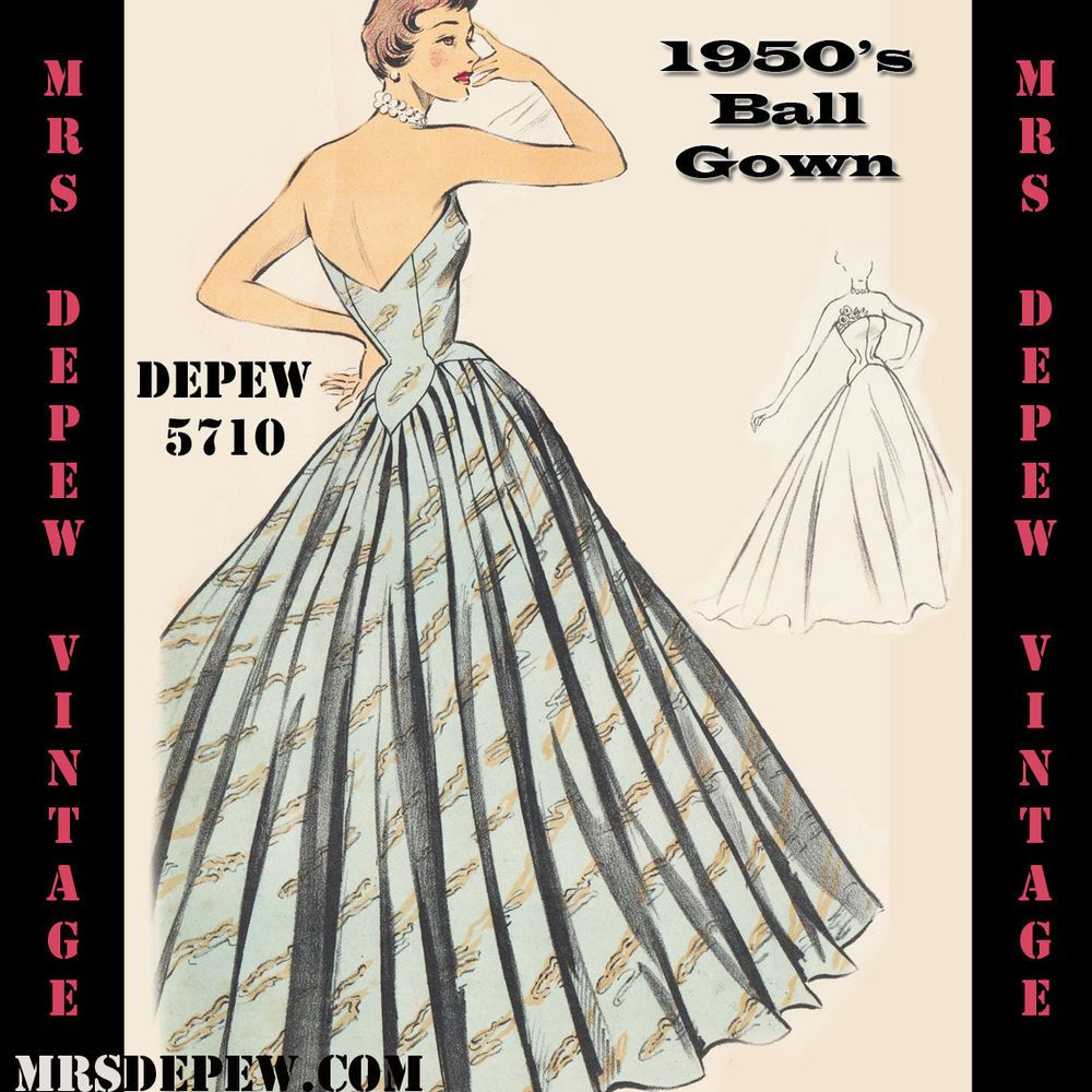 Vintage Sewing Pattern 1950s Ball Gown Any Size Plus Size