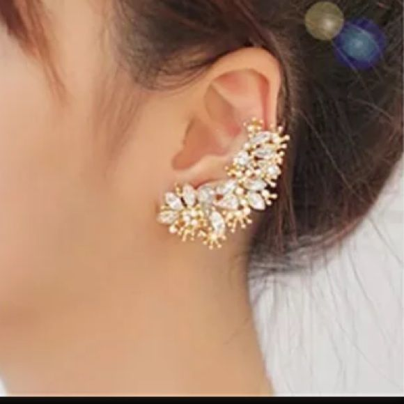 Bridal Party Flower Earring LFT Ear Earring Cuff ‼️CLEARANCED‼️LAST ONE!!! Bundle discount doesn't apply to sale items!! This is very elegant! Made to be used on the left ear only. Where a stud earring on the other side💁😘.     ‼️Comes in a gift box too💕 Jewelry