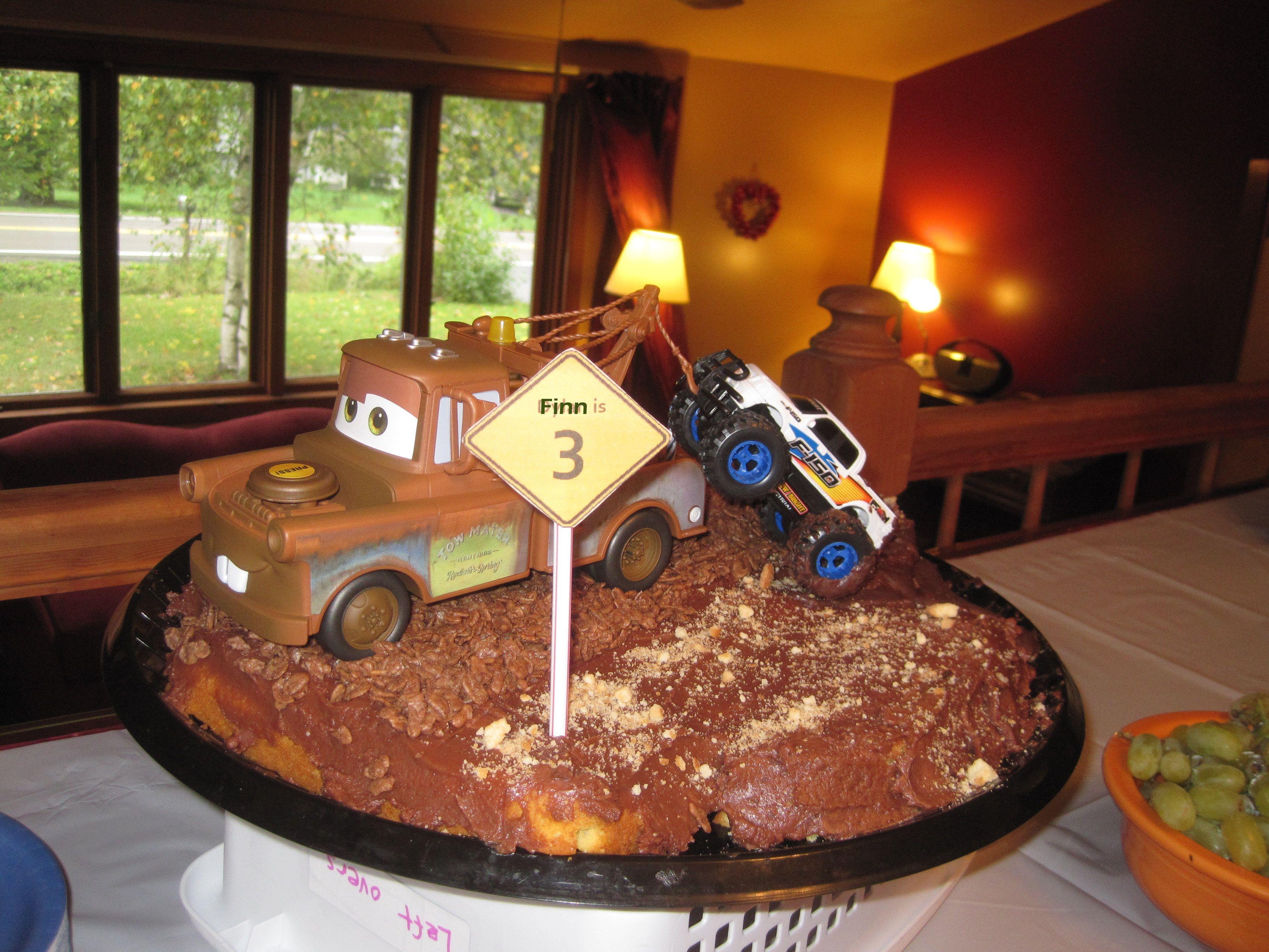Tremendous Tow Mater Towing A Monster Truck Birthday Cake Monster Truck Funny Birthday Cards Online Benoljebrpdamsfinfo