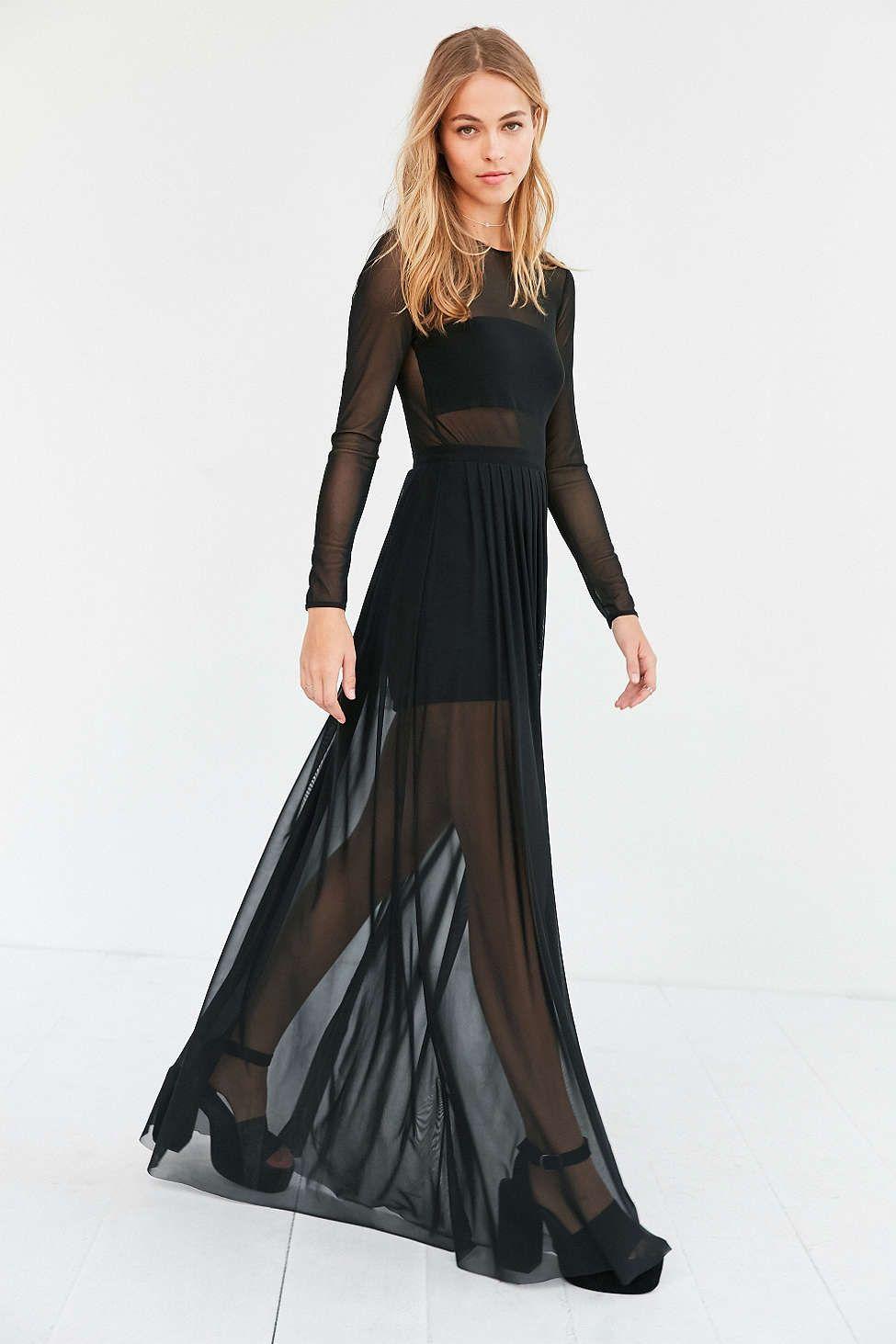 36033c021e21 Silence + Noise Katerina Pleated Mesh Maxi Dress - Urban Outfitters ...
