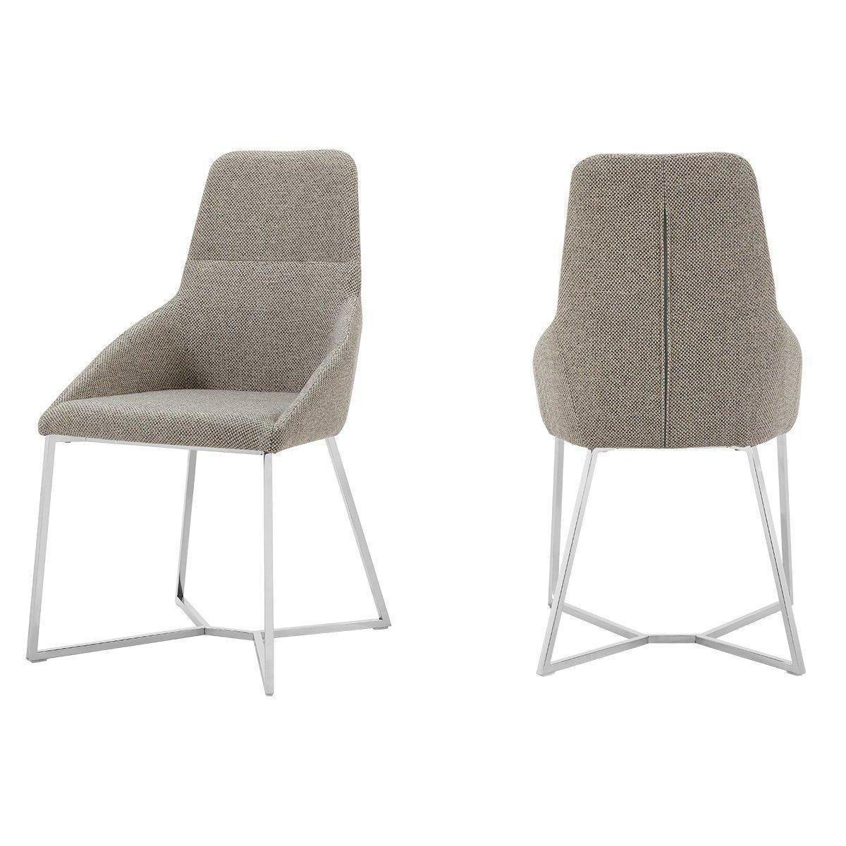 Stark Modern Light Grey Fabric Dining Chair Set Of 2 Fabric