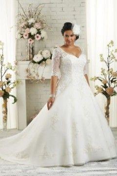 Cathedral Train V-neck Half-Sleeve Plus Size Wedding Dresses Style PW50518
