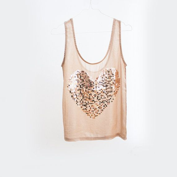 dc5ab5f6b59 Rose Gold Sequins heart tank top Gold sheer by TigerlillyVintage