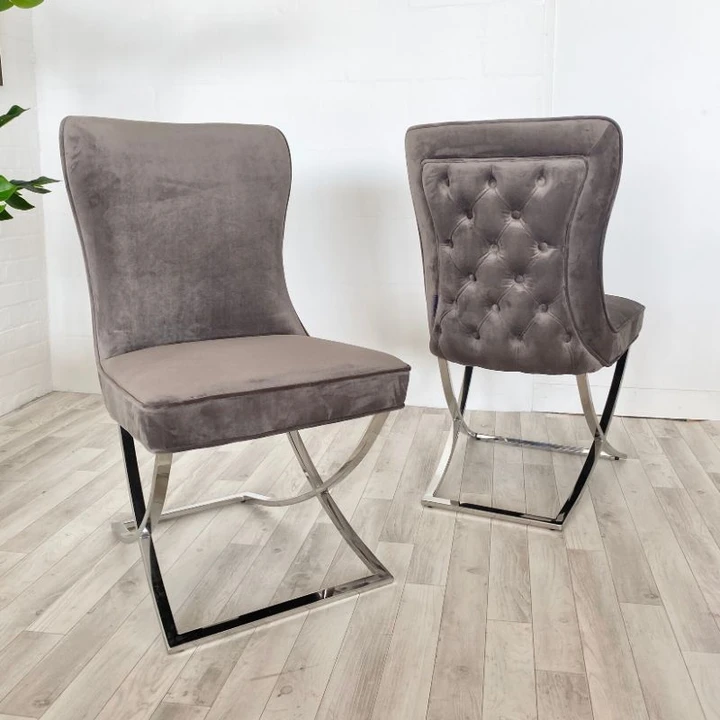 Celine Stone Grey Fabric Dining Chair Pair In 2020 Dining