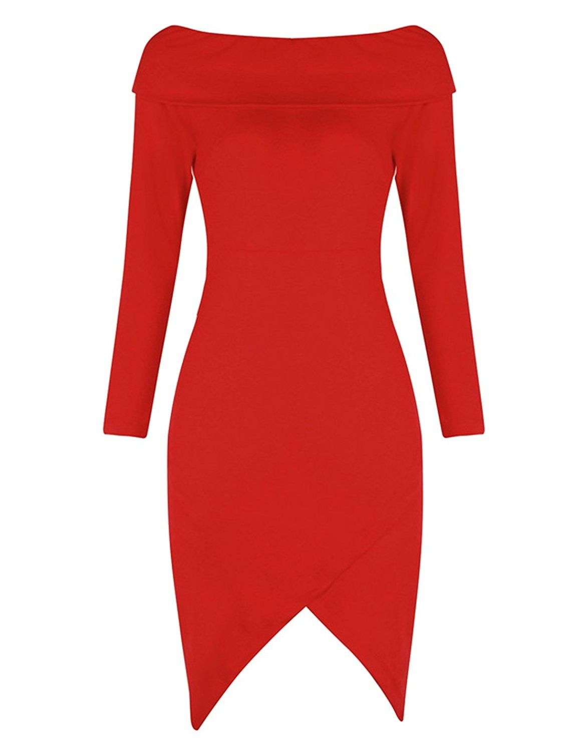 Womenus long sleeve boat neck bandage bodycon cocktail dress red