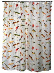 Shower Curtain With Antique Fishing Lures For A Lodge Beach Or Guys Bathroom