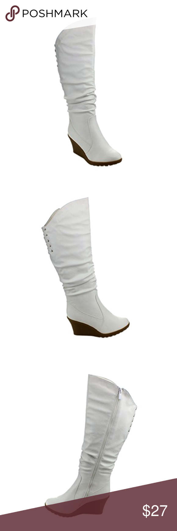 9797f6c9ef5e Top Moda Pure-40 Lace-Up Slouched Wedge Heel Boots Top Moda Pure-