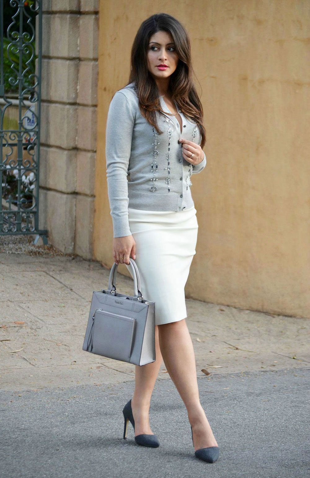 Ann Taylor cardigan, white Zara faux leather skirt, Banana ...