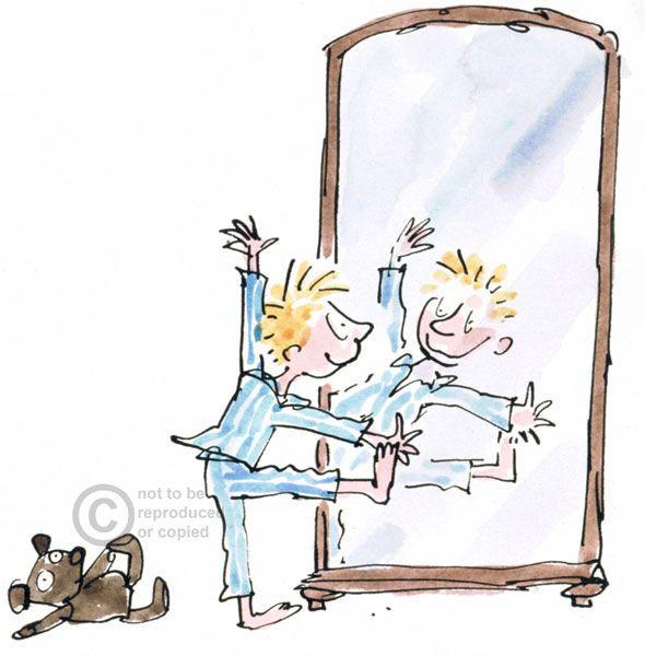 Ni o mir ndose al espejo quentin blake en 2019 dibujos for Espejo retrovisor para ninos