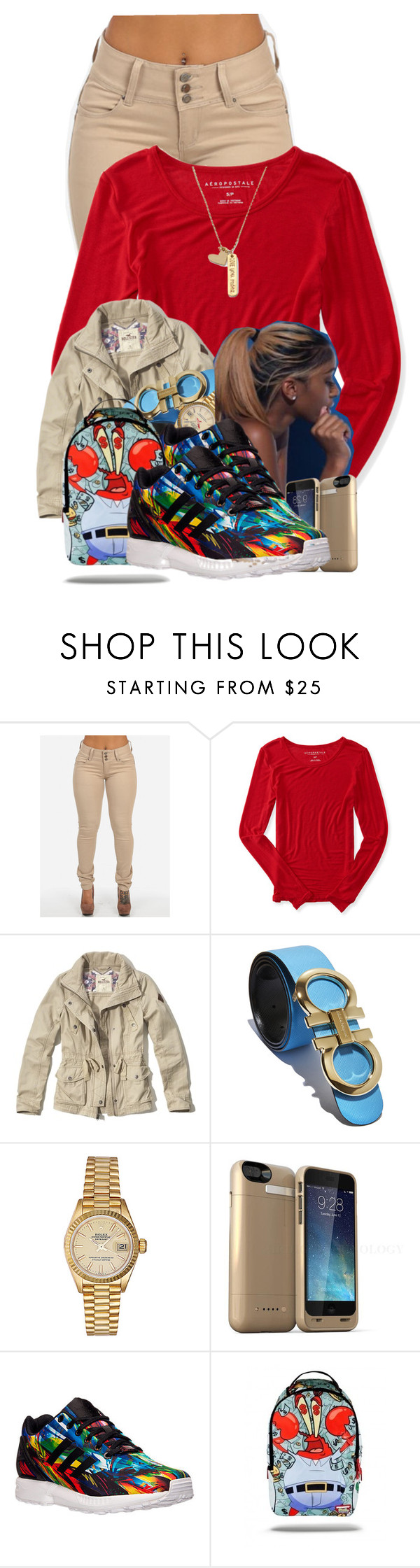 """""""Sauce """" by aniahrhichkhidd ❤ liked on Polyvore featuring Aéropostale, Hollister Co., Salvatore Ferragamo, Rolex, adidas and Forever 21"""
