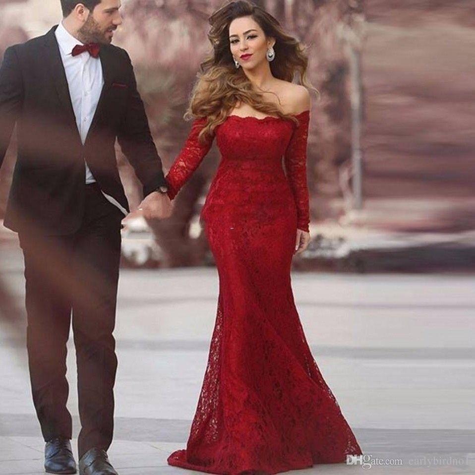 Evening dressparty dressescheap long red lace prom cocktail