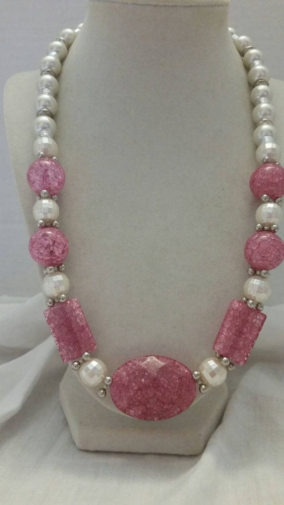 Check out this item in my Etsy shop https://www.etsy.com/listing/246457473/pink-necklace-pearl-necklace-statement