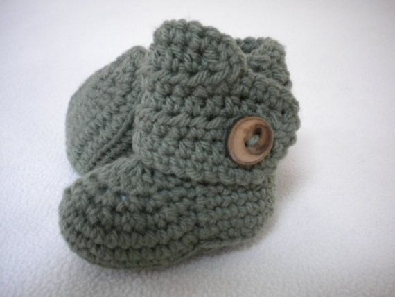 Crochet Baby Booties  Sage Green  012 months by PeaPodBabies, $17.00