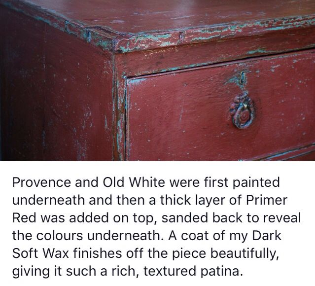 Annie Sloane Primer Red Over Old White And Provence Annie Sloan Chalk Paint Furniture Red Chalk Paint Chalk Paint Furniture