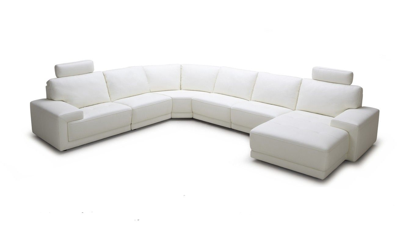 Divani Casa Cypress   Modern White Eco Leather Sectional Sofa With Headrests