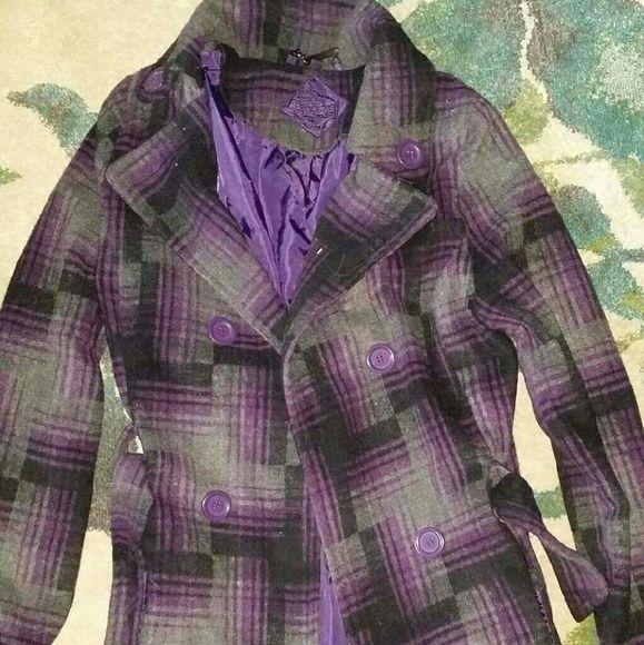 Purple plaid pea coat No holes or stains Jou Jou Jackets & Coats Pea Coats