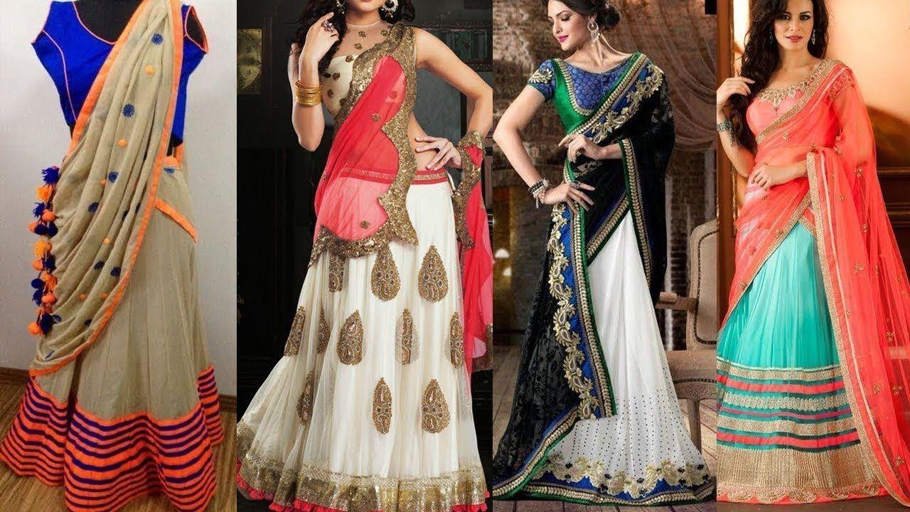 Latest Indian Lehenga Saree Designs For Ladies 2018-2019