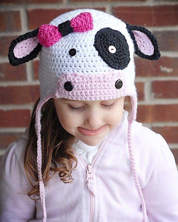 MOO Cow Earflap Hat Crochet Pattern *Instant Download* (Permission ...