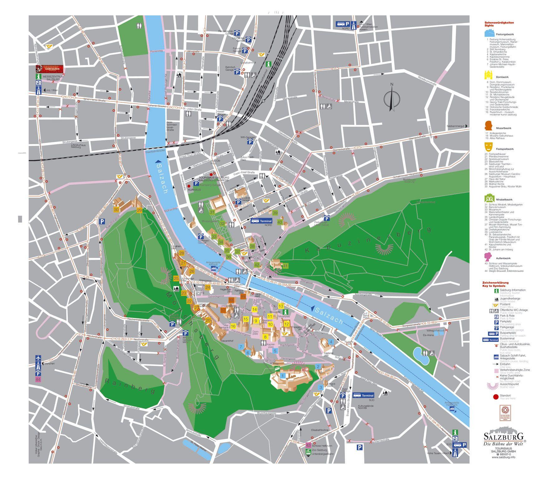 Salzburg Tourist Map Salzburg Austria Innsbruck Pinterest