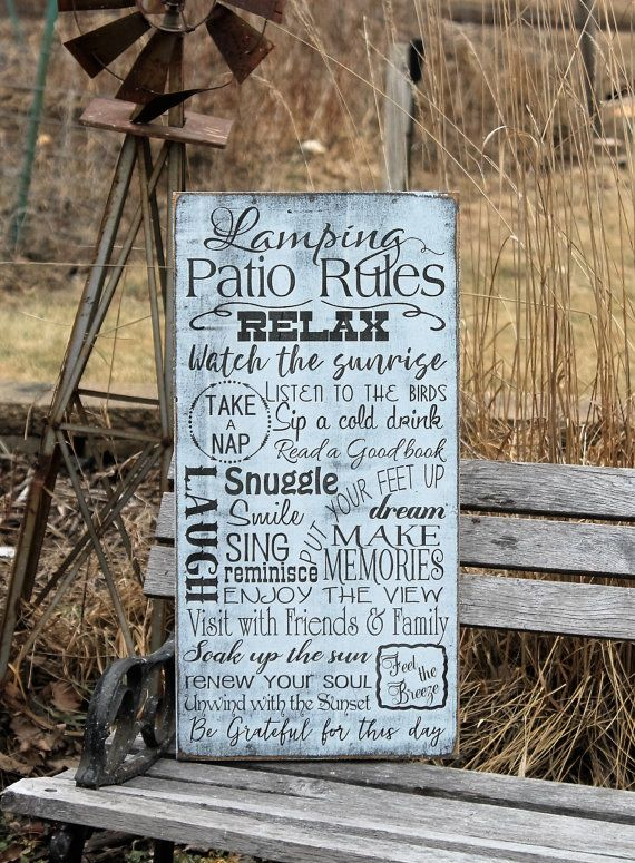 Patio Rules Sign Porch Rules sign Custom to your Rules by Wildoaks