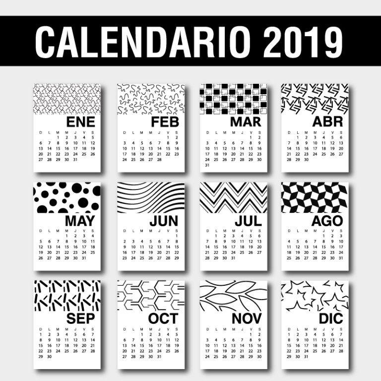 Calendario 2019 Para Colorear.Calendario 2019 En Espanol Para Imprimir Gratis Jumabu