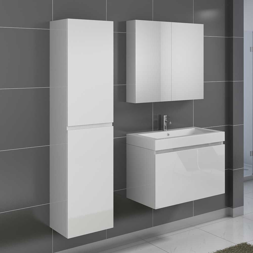 Badezimmermöbel Set in Hochglanz Weiß modern (3-teilig) Jetzt ... | {Badmöbel weiss modern 12}
