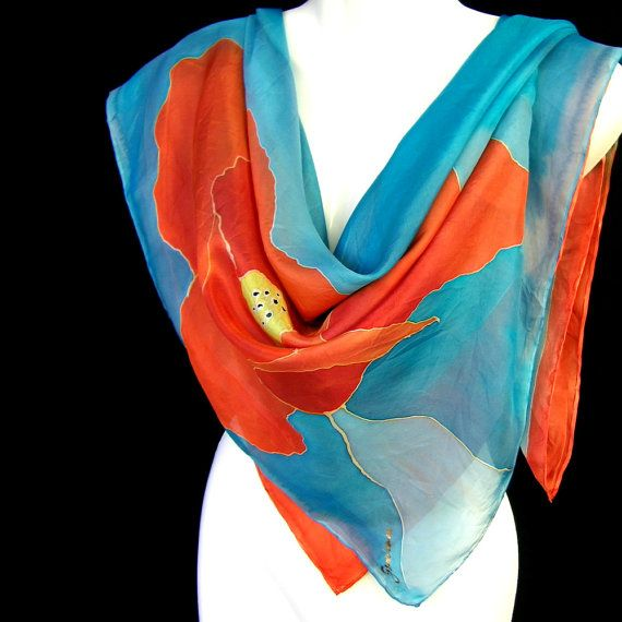 Silk Scarf Hand Painted Square Floral Burnt Orange By Silkshop Hand Painted Silk Scarf Hand Painted Silk Modern Scarf