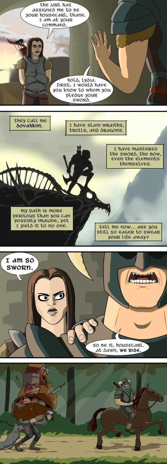 Lydia Joins the Dragonborn on his journey comic Hahaha Poor Lydia