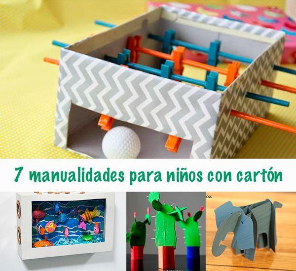 7 Manualidades Para Niños Con Cartón Pequeocio Manualidades Para Niños Manualidades Manualidades Recicladas Para Niños