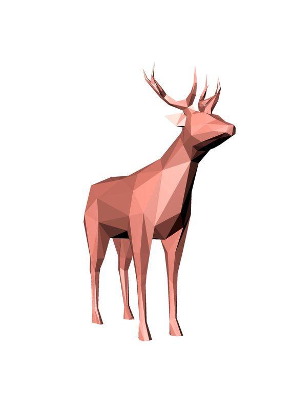 printable diy template pdf deer low poly paper decoration this