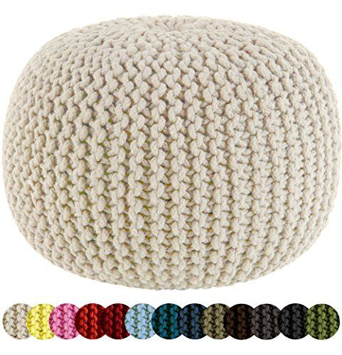 Beautiful Cotton Craft   Hand Knitted Cable Style Dori Pouf   Ivory   Floor Ottoman    100