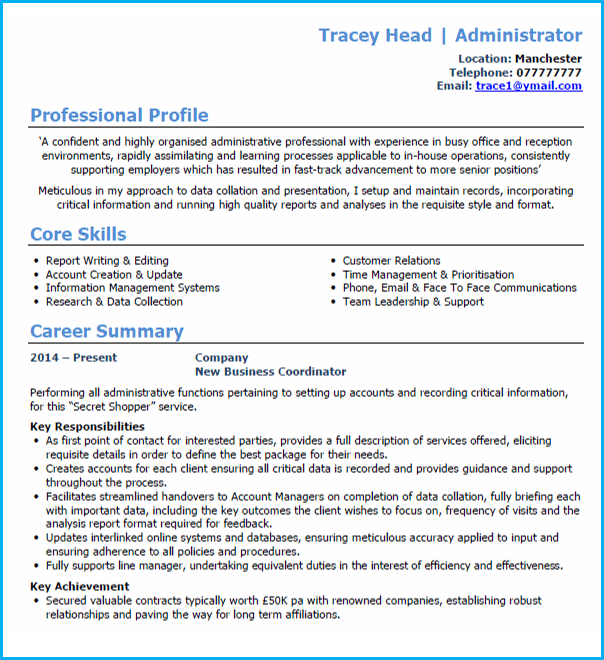 Administrator Cv Example Writing Guide And Template Uk Best Personal Statement